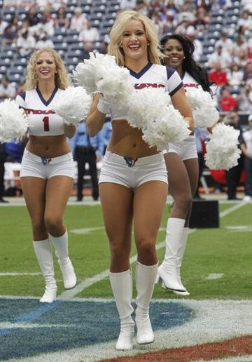 HOUSTON,TX - SEPTEMBER 09: Houston Texans cheerleaders perform before the Houston Texans play the Miami Dolphins during the season opener at Reliant Stadium on September 9, 2012 in Houston, Texas.  (Photo by Bob Levey/Getty Images) By Bob Levey