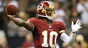 NEW ORLEANS, LA - SEPTEMBER 09: Robert Griffin III #10 of the Washington Redskins at Mercedes-Benz Superdome on September 9, 2012 in New Orleans, Louisiana. (Photo by Ronald Martinez/Getty Images) By Dan Mueller