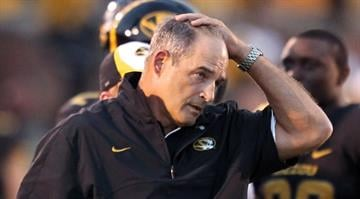 Missouri Tigers head coach Gary Pinkel watches his team during a time out while playing the Arizona State Sun Devils in the second quarter at Faurot Field in Columbia, Missouri on September 15, 2012. UPI/Bill Greenblatt By Belo Content KMOV