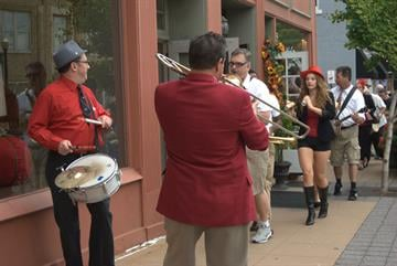 Jazz bands perform in downtown Webster on 9/15/12. By KMOV Web Producer