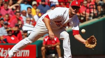 ST. LOUIS, MO - SEPTEMBER 20: David Freese #23 of the St. Louis Cardinals fields a one hopper against the Houston Astros at Busch Stadium on September 20, 2012 in St. Louis, Missouri. (Photo by Dilip Vishwanat/Getty Images) By KMOV Web Producer