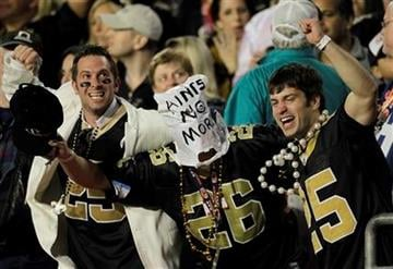 New Orleans Saints fans celebrate during the second half of the NFL Super Bowl XLIV football game against the Indianapolis Colts in Miami, Sunday, Feb. 7, 2010. (AP Photo/Matt Slocum) By Matt Slocum