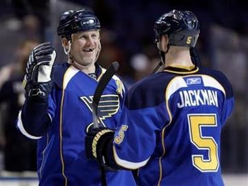 St. Louis Blues' Keith Tkachuk, left, and Barret Jackman celebrate after the the Blues' 4-3 shootout victory over the Detroit Red Wings in an NHL hockey game Tuesday, Feb. 9, 2010, in St. Louis. (AP Photo/Jeff Roberson) By Jeff Roberson