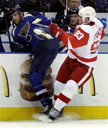 Detroit Red Wings' Johan Franzen, of Sweden, checks St. Louis Blues' David Backes, left, into the boards during the first period of an NHL hockey game Tuesday, Feb. 9, 2010, in St. Louis. (AP Photo/Jeff Roberson) By Jeff Roberson