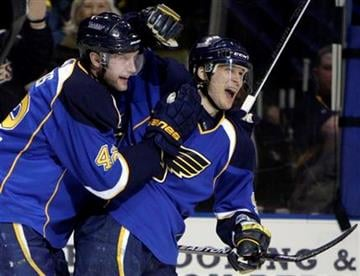 St. Louis Blues' Paul Kariya, right, is congratulated by teammate David Backes after scoring during the second period of an NHL hockey game against the Detroit Red Wings on Tuesday, Feb. 9, 2010, in St. Louis. (AP Photo/Jeff Roberson) By Jeff Roberson