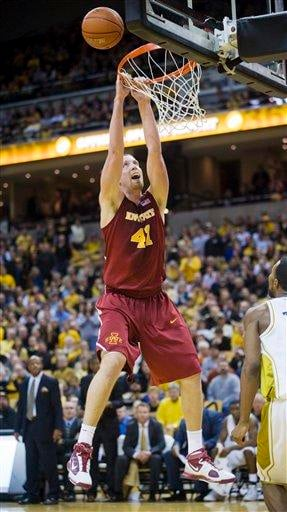Iowa State's Justin Hamilton misses a dunk to finish the first half of an NCAA college basketball game against Missouri on Wednesday, Feb. 10, 2010, in Columbia, Mo. (AP photo/L.G. Patterson) By L.G. Patterson