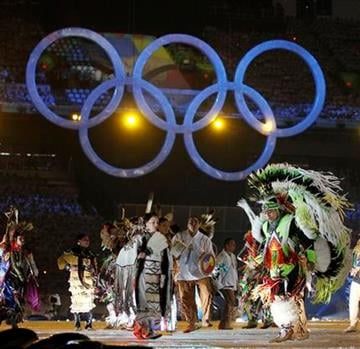 Aboriginal people of Canada perform during the opening ceremony for the Vancouver 2010 Olympics in Vancouver, British Columbia, Friday, Feb. 12, 2010. (AP Photo/Mark Baker) By Mark Baker