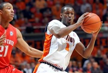 Illinois' D.J. Richardson (1) looks to pass while being guarded by Ohio State's Evan Turner (21) during their NCAA college basketball game at the Assembly Hall in Champaign, Ill., on Sunday, Feb. 14, 2010. (AP Photo/Robin Scholz) By Robin Scholz