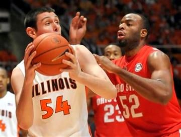 Illinois'  Mike Tisdale (54) is guarded by Ohio State's Dallas Lauderdale (52) during their NCAA college basketball game at the Assembly Hall in Champaign, Ill., on Sunday, Feb. 14, 2010. (AP Photo/Robin Scholz) By Robin Scholz