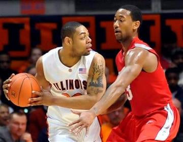 Illinois' Demetri McCamey, left, is guarded by  Ohio State's David Lighty during their NCAA college basketball game at the Assembly Hall in Champaign, Ill., on Sunday, Feb. 14, 2010. (AP Photo/Robin Scholz) By Robin Scholz