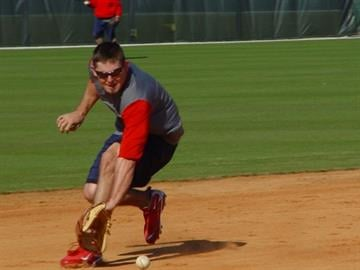 Jupiter, Fla (KMOV) - Shortstop Tyler Greene takes infield practice during Tuesday morning's training session. Greene will have more chances to make a good impression in camp while Brendan Ryan recovers from wrist surgery. By Brendan Marks