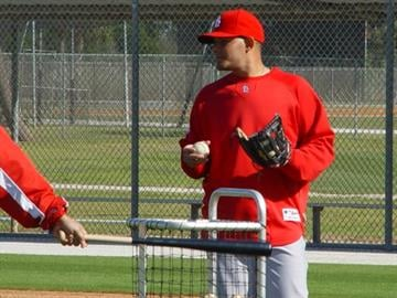 Jupiter, Fla (KMOV) - Yadier Molina looking on as the infielders worked on their fielding. By Brendan Marks