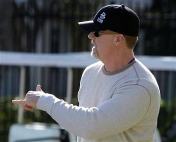 St. Louis Cardinals hitting coach Mark McGwire arrives for spring training baseball Wednesday, Feb. 17, 2010, in Jupiter, Fla. (AP Photo/Jeff Roberson) By Jeff Roberson