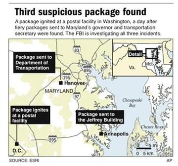 Map shows locations where suspicious packages were found in Washington and Maryland. By P. Prengaman, pp