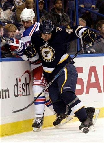 St. Louis Blues' Roman Polak (46) slams New York Rangers' Brandon Dubinsky (17) into the boards as he goes for the puck in the first period of an NHL hockey game, Saturday, Jan. 8, 2011 in St. Louis. (AP Photo/Tom Gannam) By Tom Gannam