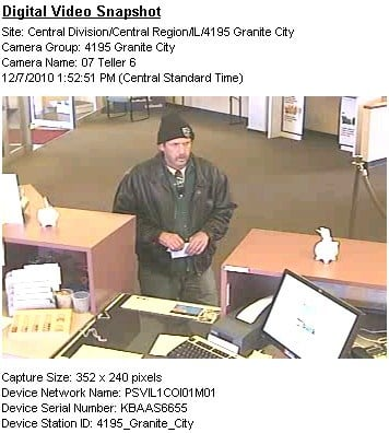 This surveillance photo shows a man accused of robbing two Granite City banks. By KMOV Web Producer