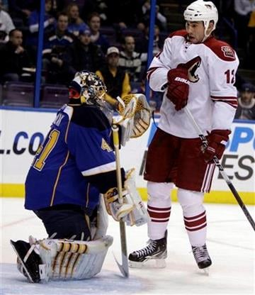 Phoenix Coyotes' Paul Bissonnette, right, watches as St. Louis Blues goalie Jaroslav Halak, of Slovakia, makes a glove save during the first period of an NHL hockey game Monday, Jan. 10, 2011, in St. Louis. (AP Photo/Jeff Roberson) By Jeff Roberson