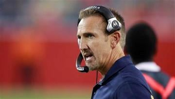 St. Louis Rams coach Steve Spagnuolo talks on his headset in the first quarter against the New England Patriots during an NFL preseason football game Thursday, Aug. 26, 2010, in Foxborough, Mass. (AP Photo/Charles Krupa) By Charles Krupa