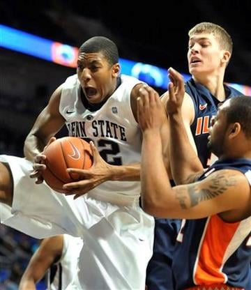 Penn State's Andrew Jones pulls down a rebound in first half action of NCAA college basketball against Illinois in State College, Pa. on Tuesday, Jan. 11, 2011. (AP Photo/Ralph Wilson) By Ralph Wilson