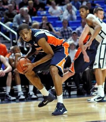 Illinois' Mike Davis looks toward the paint in second half action of an NCAA college basketball game against Penn State in State College, Pa., on Tuesday, Jan. 11, 2011. Penn State won 57-55. (AP Photo/Ralph Wilson) By Ralph Wilson