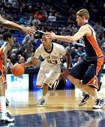 Penn State's Tim Frazier looks for space between Illinois players during the first half of an NCAA college basketball game in State College, Pa., on Tuesday, Jan. 11, 2011. (AP Photo/Ralph Wilson) By Ralph Wilson