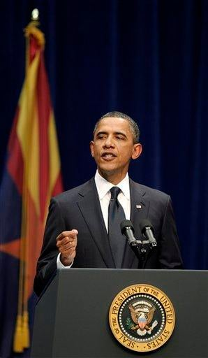 President Barack Obama speaks at a memorial service for the victims of Saturday's shootings at McKale Center on the University of Arizona campus Wednesday, Jan. 12, 2011, in Tucson, Ariz. (AP Photo/Chris Carlson) By Chris Carlson