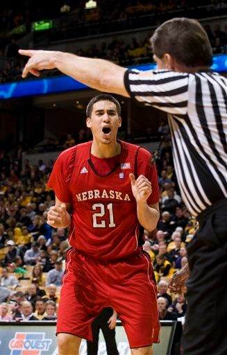 Nebraska's Jorge Brian Diaz, left, argues a foul call during the first half of an NCAA college basketball game against Missouri Wednesday, Jan. 12, 2011, in Columbia, Mo.  (AP Photo/L.G. Patterson) By L.G. Patterson