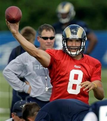 St. Louis Rams quarterback Sam Bradford (8) throws as offensive coordinator Pat Shurmur, rear, looks on during NFL football training camp at the team's training facility Saturday, July 31, 2010, in St. Louis. (AP Photo/Jeff Roberson) By Jeff Roberson