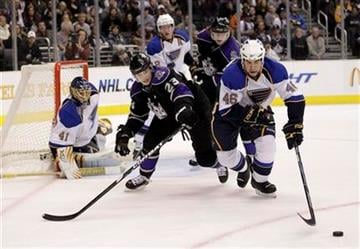 St. Louis Blues defenseman Roman Polak, right, of Czech Republic, skates past Los Angeles Kings right wing Dustin Brown during the second period of an NHL hockey game in Los Angeles, Thursday, Jan. 13, 2011. (AP Photo/Jae C. Hong) By Jae C. Hong