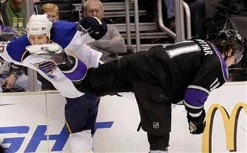 St. Louis Blues center Alexander Steen, left, collides with Los Angeles Kings center Anze Kopitar during the first period of an NHL hockey game in Los Angeles, Thursday, Jan. 13, 2011. (AP Photo/Jae C. Hong) By Jae C. Hong