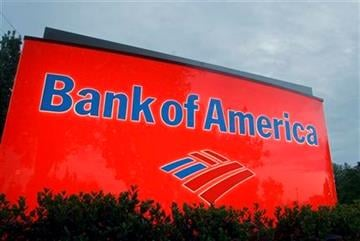 FILE - In this April 21, 2008 file photo, a sign for a Bank of America branch is shown in Charlotte, N.C. By Chuck Burton