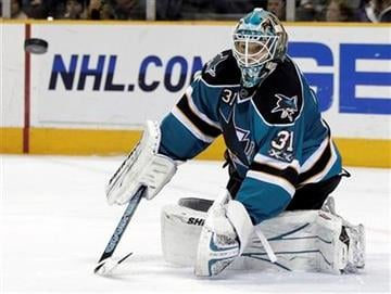 San Jose Sharks goalie Antti Niemi, of Finland, deflects a shot on goal against the St. Louis Blues during the second period of an NHL hockey game in San Jose, Calif., Saturday, Jan. 15, 2011.(AP Photo/Marcio Jose Sanchez) By Marcio Jose Sanchez