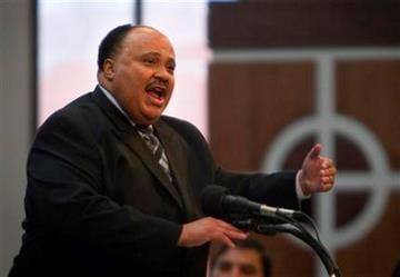 Martin Luther King III speaks during a service at Ebenezer Baptist Church honoring the 25th federal observance of his father, Dr. Martin Luther King Jr. Day Monday, Jan. 17, 2011 in Atlanta. (AP Photo/David Goldman) By David Goldman