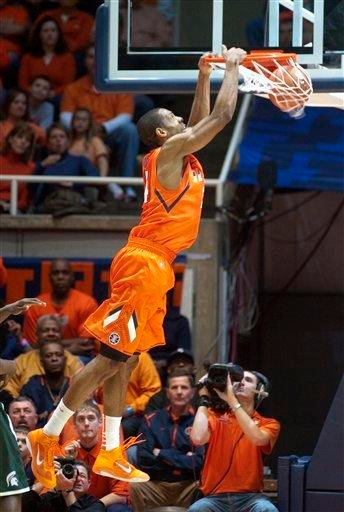 Illinois' Mike Davis (24) dunks during the second half of Illinois' 71-62 win over Michigan State in an NCAA college basketball game Tuesday, Jan. 18, 2011, in Champaign, Ill. (AP Photo/Robert K. O'Daniell) By Robert K. O'Daniell