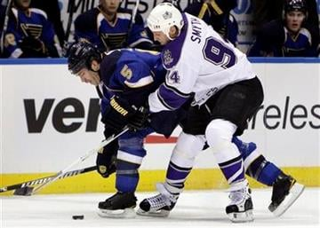 St. Louis Blues' Barret Jackman, left, and Los Angeles Kings' Ryan Smyth chase a lose puck during the first period of an NHL hockey game Tuesday, Jan. 18, 2011, in St. Louis. (AP Photo/Jeff Roberson) By Jeff Roberson