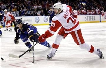 Detroit Red Wings' Drew Miller, right, shoots past St. Louis Blues' Alex Pietrangelo during the third period of an NHL hockey game Thursday, Jan. 20, 2011, in St. Louis. The Red Wings won 4-3 in overtime. (AP Photo/Jeff Roberson) By Jeff Roberson