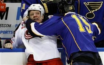 Columbus Blue Jackets' Derek Dorsett, left, and St. Louis Blues' Brad Winchester fight during the first period of an NHL hockey game, Saturday, Jan. 22, 2011, in St. Louis. (AP Photo/Jeff Roberson) By Jeff Roberson