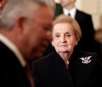 Former Secretaries of State Madeleine Albright, right, and Colin Powell, left, at a luncheon for China's President Hu Jintao, Wednesday, Jan. 19, 2011, at the State Department in Washington. (AP Photo/Pablo Martinez Monsivais) By Pablo Martinez Monsivais