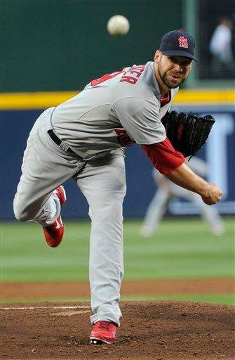 Saint Louis Cardinals' Chris Carpenter pitches against the Atlanta Braves during the first inning of an MLB baseball game, Friday, April 29, 2011, in Atlanta. (AP Photo/John Amis) By John Amis