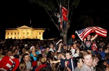 Crowds gathers outside the White House in Washington early Monday, May 2, 2011, to celebrate after President Barack Obama announced the death of Osama bin Laden. (AP Photo/Charles Dharapak) By Charles Dharapak