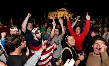 Crowds gathers outside the White House in Washington late Sunday, May 1 2011, to celebrate after President Barack Obama announced the death of Osama bin Laden. (AP Photo/Manuel Balce Ceneta) By Manuel Balce Ceneta
