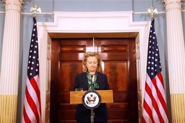 Secretary of State Hillary Rodham Clinton pauses while making a statement regarding the death of Osama bin Laden, Monday, May 2, 2011, at the State Department in Washington. (AP Photo/Jacquelyn Martin) By Jacquelyn Martin