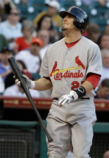 St. Louis Cardinals' David Freese watches a ball go foul for a strike in the first inning against the Houston Astros in a baseball game Wednesday, April 27, 2011, in Houston. Freese singled on the at-bat. (AP Photo/Pat Sullivan) By Pat Sullivan