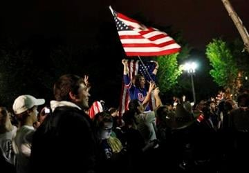 Crowds gathers outside the White House in Washington to celebrate after President Barack Obama announced the death of Osama bin Laden Sunday, May 1, 2011. (AP Photo/Pablo Martinez Monsivais) By Pablo Martinez Monsivais