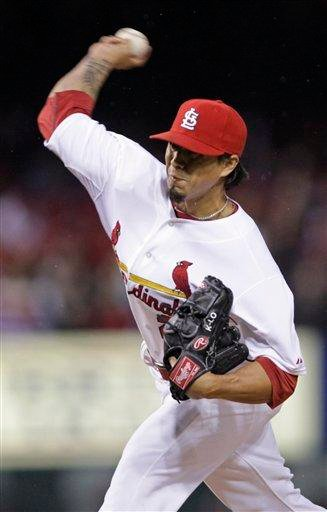 St. Louis Cardinals starting pitcher Kyle Lohse pitches in the third inning of a baseball game against the Florida Marlins, Monday, May 2, 2011 in St. Louis.(AP Photo/Tom Gannam) By Tom Gannam