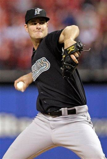 Florida Marlins starting pitcher Chris Volstad pitches in the first inning of a baseball game against the St. Louis Cardinals, Monday, May 2, 2011 in St. Louis.(AP Photo/Tom Gannam) By Tom Gannam