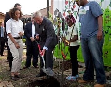 Britain's Prince Charles helps with a tree planting during a tour of the Common Good City Farm on Capitol Hill on Tuesday, May 3, 2011, in Washington.  (AP Photo/Evan Vucci) By Evan Vucci