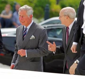 Britain's Prince Charles, left,  walks with U.S. Supreme Court Justice Stephen Breyer as he arrives at the Supreme Court in Washington, Tuesday, May 3, 2011. (AP Photo/Alex Brandon) By Alex Brandon