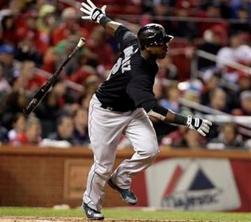 Florida Marlins' Hanley Ramirez tosses hits bat after hitting a single in the seventh inning of a baseball game against the St. Louis Cardinals, Tuesday, May 3, 2011, in St. Louis. (AP Photo/Tom Gannam) By Tom Gannam