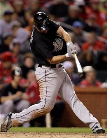 Florida Marlins' Gaby Sanchez connects for an RBI single, his fourth single of the baseball game, in the seventh inning against the St. Louis Cardinals, Tuesday, May 3, 2011, in St. Louis. (AP Photo/Tom Gannam) By Tom Gannam